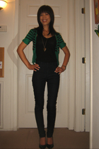green H&M sweater - blue Wax jeans - black H&M shoes - gold Forever 21 necklace