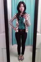 Hollister Co cardigan - green Old Navy blouse - brown Gap belt - blue Wax jeans