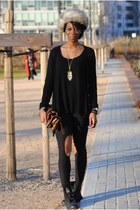 camel hm chapka hat - black asos legging leggings - burnt orange zara Bag bag -