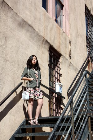 floral print Forever 21 dress - olive thrifted blazer - white quilted thrifted b