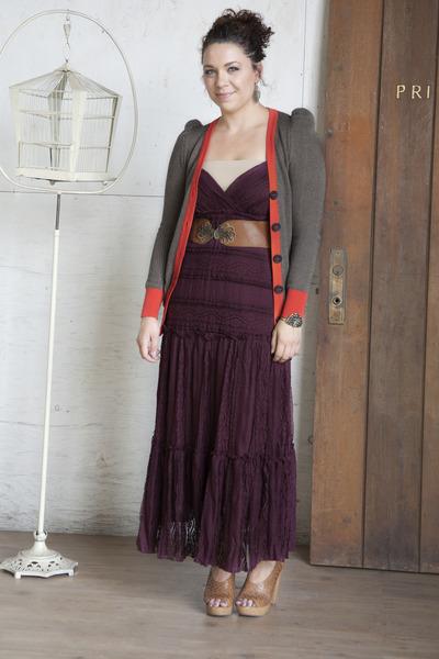 One with Nature Dress in Wine dress - metal detail Just Fan-dy Belt belt
