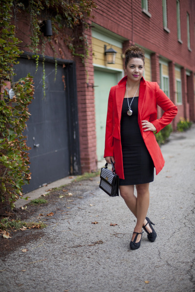 modcloth dress - modcloth coat - modcloth bag - modcloth necklace