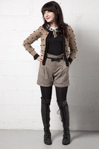black modcloth top - light brown modcloth cardigan - dark khaki modcloth shorts