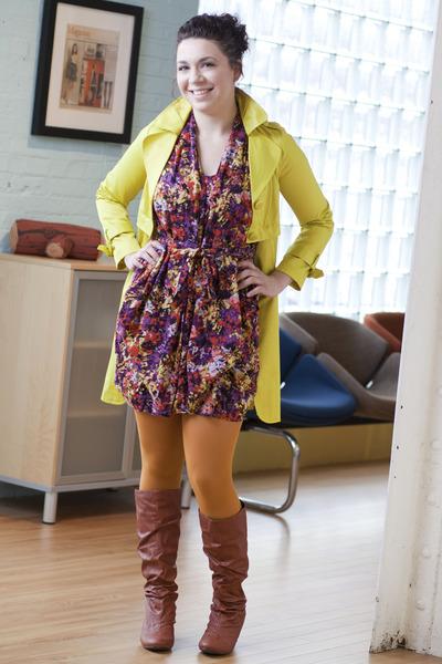 chartreuse modcloth coat - deep purple modcloth dress - light orange modcloth ti