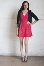 hot pink Raspberry Bouquet Dress dress - gray Visiting Professor Jacket blazer