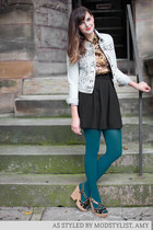 dark khaki modcloth top - light blue modcloth jacket - teal modcloth tights