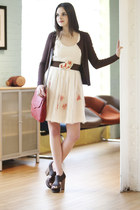 eggshell modcloth dress - dark brown modcloth shoes - dark brown modcloth cardig
