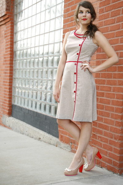 off white modcloth dress - beige modcloth heels - white earrings