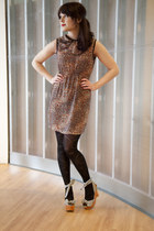 brick red modcloth dress - black modcloth tights - black modcloth wedges