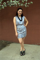 sky blue modcloth dress - gray modcloth wedges - black modcloth necklace