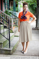 modcloth skirt - modcloth scarf - modcloth top - modcloth earrings
