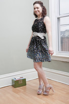 black modcloth dress - light pink seychelles modcloth heels - gray modcloth belt