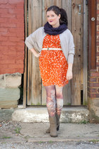 carrot orange modcloth dress - periwinkle modcloth sweater