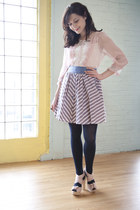 navy modcloth tights - sky blue darling modcloth skirt - light pink seychelles m