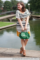 mustard modcloth dress - chartreuse modcloth bag - ivory modcloth top