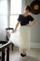 black modcloth top - ivory modcloth skirt - black modcloth flats