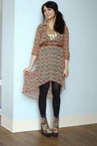 salmon asymmetrical Tropical Tradition Dress dress