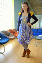 brown modcloth boots - blue plaid modcloth dress - charcoal gray modcloth tights