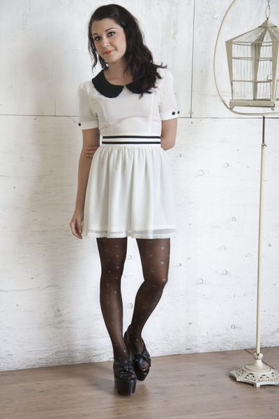 white modcloth dress - black modcloth tights - black modcloth wedges