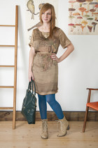 tan modcloth dress - beige modcloth boots - sky blue modcloth tights