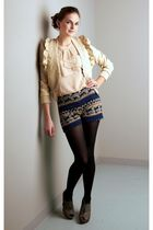 beige modcloth top - beige jacket - blue ModClothcom shorts - black tights - gra