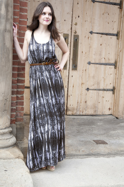 gray modcloth dress - dark brown modcloth belt - tan modcloth wedges