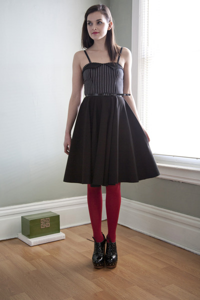 black modcloth dress - ruby red modcloth tights - black modcloth heels