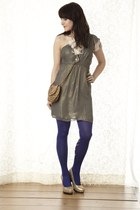 bronze modcloth dress - purple modcloth tights - brown leopard printed modcloth