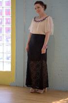 ivory modcloth blouse - black modcloth skirt - light pink seychelles modcloth he