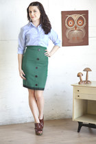 light blue modcloth shirt - turquoise blue modcloth skirt - brown modcloth wedge