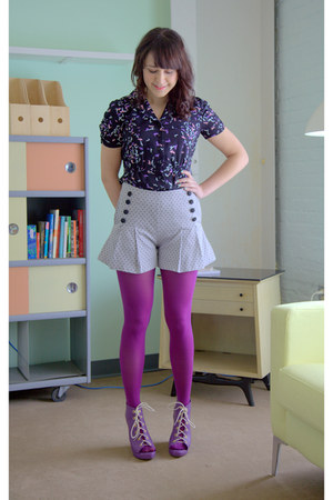 modcloth tights - modcloth wedges - modcloth top