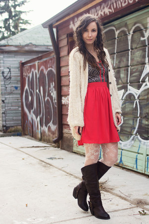 beige fluffy Darling cardigan - dark brown western style unknown boots