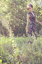 black riding Call it Spring boots - black floral Suzy Shier dress