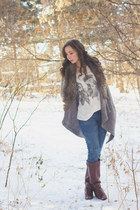 light brown faux fur Jack & Jenn cardigan - dark brown riding unknown boots