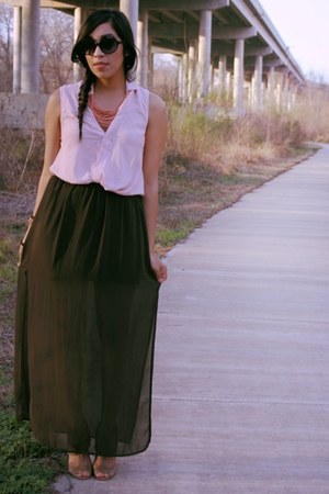 dark green Forever 21 skirt - camel threadsence shoes