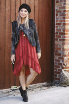 dark gray Double zero jacket - black UES boots - brick red free people dress