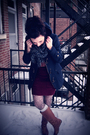 Blue-american-eagle-coat-silver-urban-outfitters-tights-blue-unknown-scarf