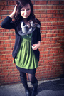 Black-delias-cardigan-green-thrifted-blouse-gray-american-eagle-scarf-blac