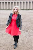 red Little Mistress dress - black Forever 21 jacket