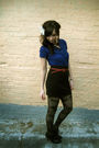 Black-bdg-skirt-red-forever-21-belt-black-forever-21-boots-blue-gifted-blo