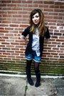 Black-delias-cardigan-blue-forever-21-blouse-blue-blue-asphalt-shorts-blac