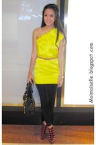 yellow River Island dress - pink Topshop belt - black Mango leggings - purple Ch