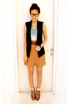 black Forever21 vest - white Topshop top - brown Zara pants - brown Forever21 sh