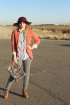 JCPenney hat - grey Forever 21 jeans - orange Forever 21 blazer