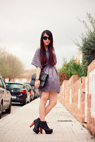 light purple Sugarlips dress - black Jeffrey Campbell boots - black Chanel bag