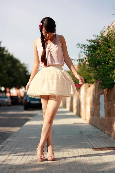 eggshell Bershka skirt - light pink bought in Shanghai heels