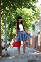 white Zara shirt - hot pink Furla bag - dark brown H&M belt - violet Zara skirt