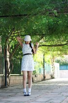 white BLANCO dress - white Momo House hat - white condor socks - dark brown Sfer