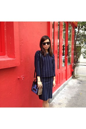 navy stripes Zara skirt - navy stripes Zara top