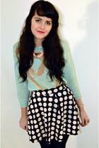 black polka dot Primark skirt - light blue vintage jumper